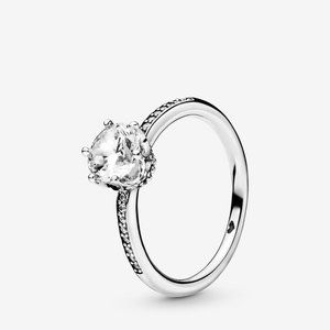 🔥PANDORA Clear Sparkling Crown Solitaire Ring